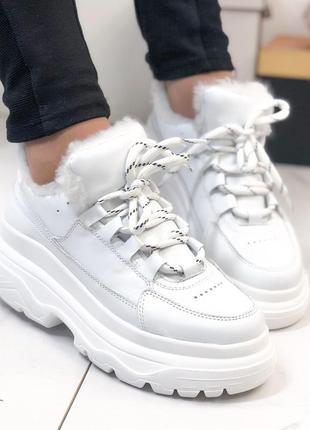 ❤ женские белые зимние кожаные кроссовки ботинки сапоги  на ше...