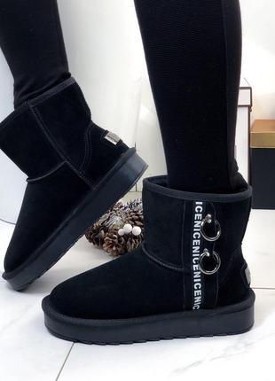 ❤невероятные женские черные зимние низкие угги ботинки сапоги ...