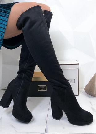 ❤невероятные женские черные зимние сапоги ботфорты ботинки на ...
