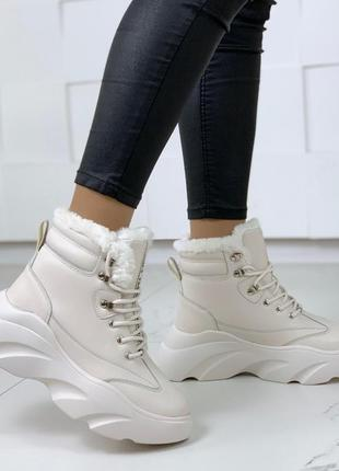 ❤невероятные женские белые зимние ботинки сапоги валенки на ме...