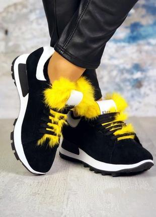 ❤ женские черные демисезонные осенние замшевые зимние кроссовк...