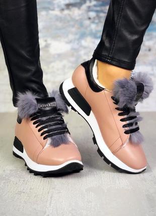 ❤ женские пудровые демисезонные осенние кожаные кроссовки боти...