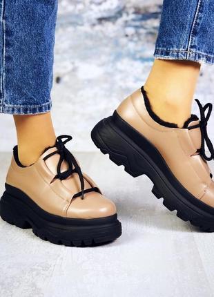 ❤ женские бежевые  демисезонные осенние зимние кожаные ботинки...