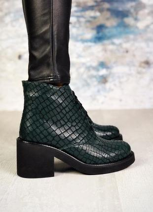 ❤ женские изумрудные  демисезонные осенние кожаные ботинки сап...