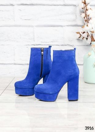 ❤ женские синие демисезонные осенние замшевые ботильоны ботинк...