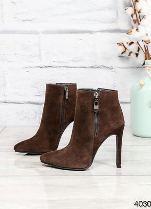 ❤ женские коричневые демисезонные осенние кожаные ботинки боти...