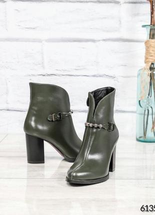 ❤ женские оливковые демисезонные осенние кожаные ботинки ботил...