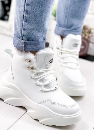 ❤ женские белые зимние ботинки сапоги валенки на меху❤