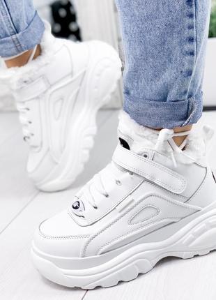 ❤ женские белые зимние ботинки сапоги валенки на меху ❤