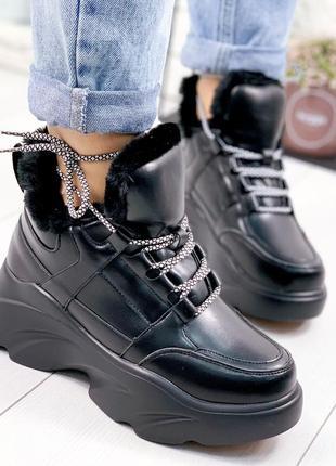 ❤ женские черные зимние ботинки сапоги валенки на меху ❤