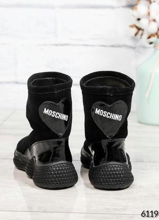 ❤ женские черные зимние угги ботинки сапоги валенки на шерсти ❤