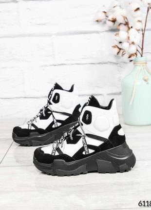 ❤ женские черные белые зимние кожаные ботинки сапоги валенки н...