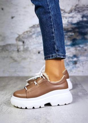 ❤ женские бежевые демисезонные осенние зимние кожаные кроссовк...