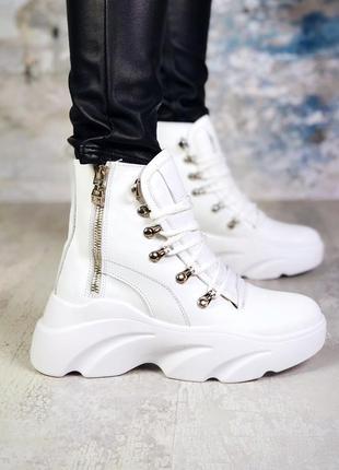 ❤ женские белые демисезонные осенние кожаные ботинки сапоги бо...
