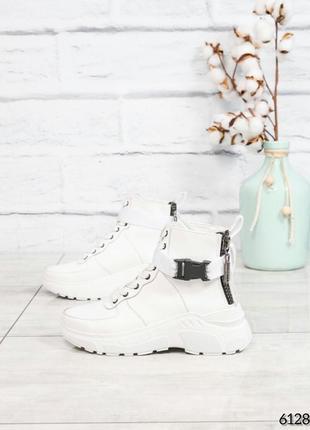 ❤ женские белые зимние кожаные ботинки сапоги валенки на шерсти ❤