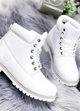 ❤ женские белые зимние ботинки сапоги ботильоны на меху ❤