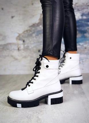 ❤ женские белые демисезонные осенние кожаные высокие ботинки с...