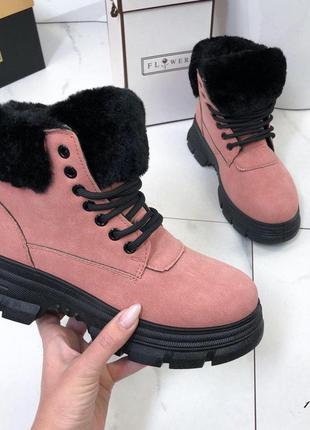 ❤ женские розовые зимние ботинки сапоги ботильоны на меху ❤