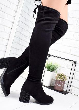 ❤ женские черные зимние  сапоги ботфорты ботинки ботильоны на ...