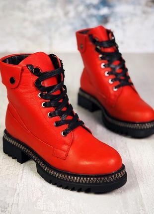❤ женские красные зимние кожаные ботинки сапоги валенки на меху ❤