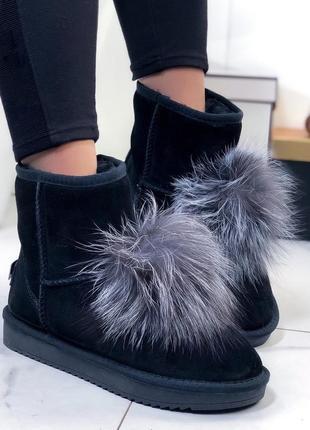 ❤ женские черные зимние замшевые низкие угги ботинки сапоги бо...