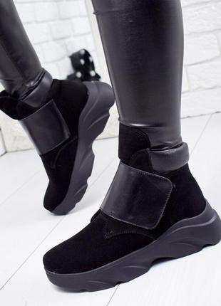 ❤ женские черные кожаные замшевые ботинки сапоги ботильоны на ...