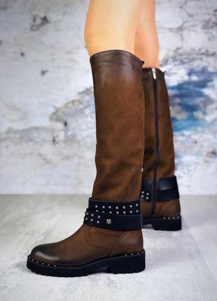 ❤ женские коричневые демисезонные осенние кожаные высокие сапо...