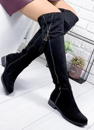 ❤ женские черные демисезонные осенние  сапоги ботфорты ботильо...