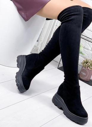 ❤ женские черные демисезонные осенние кожаные сапоги ботфорты ...