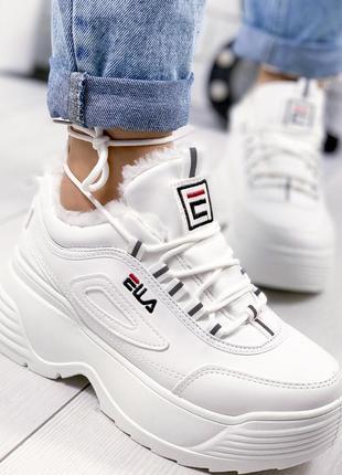 ❤ женские белые зимние кроссовки ботинки сапоги  на меху ❤