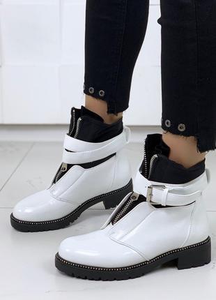 ❤ женские белые демисезонные осенние ботинки сапоги ботильоны ...