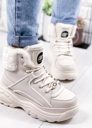 ❤ женские бежевые зимние кроссовки ботинки сапоги ботильоны на...