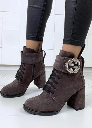 ❤ женские коричнвые  демисезонные осенние замшевые ботинки сап...