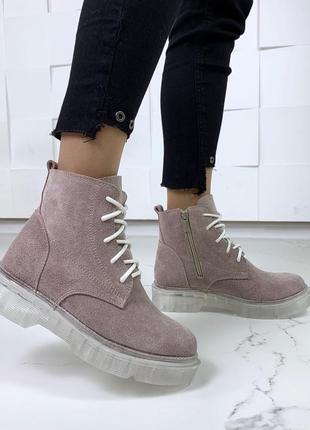 ❤ женские пудровые розовые зимние ботинки сапоги ботильоны на ...