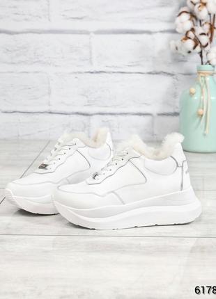 ❤ женские белые зимние кожаные кроссовки ботинки сапоги ботиль...