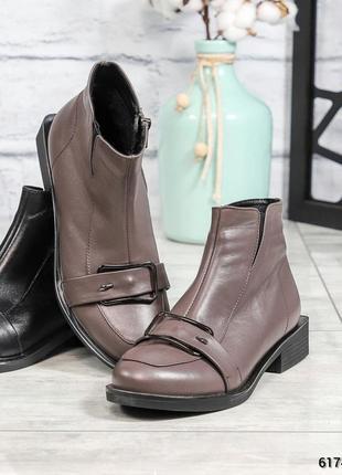 ❤ женские коричневые демисезонные осенние кожаные ботинки сапо...