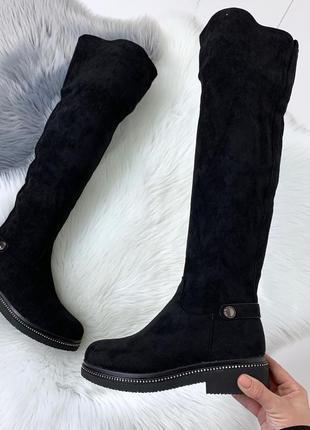 ❤ женские черные зимние сапоги  ботфорты ботильоны на меху ❤
