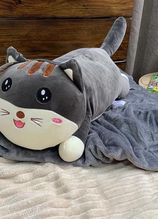 Плед-игрушка - 2 в 1. серый кот