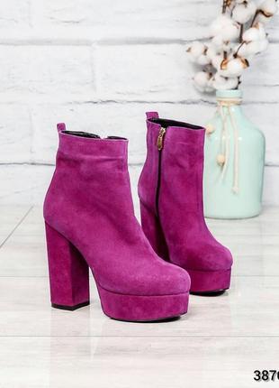 ❤ женские сиреневые демисезонные осенние замшевые ботинки сапо...