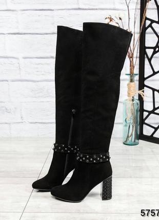❤ женские черные демисезонные осенние замшевые сапоги ботфорты...