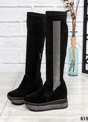 ❤ женские черные зимние замшевые  сапоги ботфорты ботильоны на...