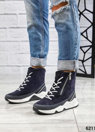 ❤ женские синие зимние замшевые спортивные ботинки сапоги боти...
