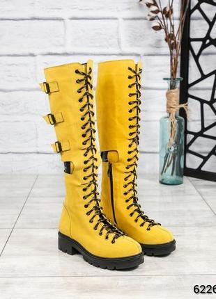 ❤ женские желтые демисезонные осенние замшевые высокие сапоги ...