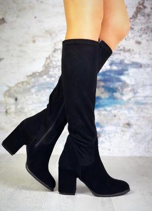 ❤ женские черные демисезонные осенние замшевые высокие сапоги ...