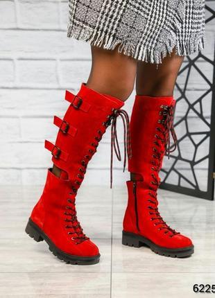 ❤ женские красные демисезонные осенние замшевые высокие сапоги...