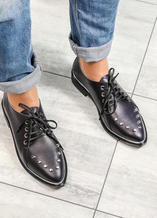❤ женские фиолетовые кожаные лоферы / туфли ❤