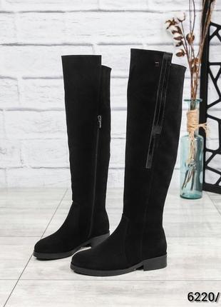 ❤ женские черные зимние замшевые сапоги ботфорты ботильоны на ...
