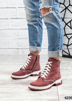 ❤ женские бордовые демисезонные осенние ботинки сапоги ботильо...