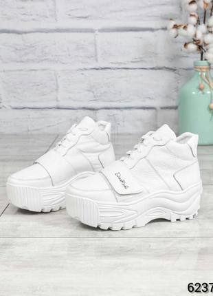 ❤ женские белые зимние кожаные спортивные ботинки сапоги ботил...