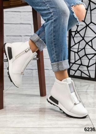 ❤ женские  белые зимние кожаные ботинки сапоги ботильоны на ше...
